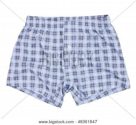Checkered boxer shorts.