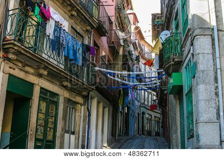 Classic Street In Old City Of Porto