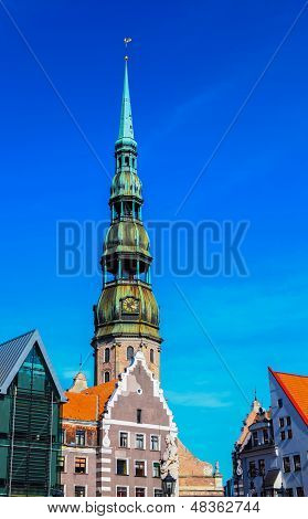 Old City In Riga With Saint Peter's Church