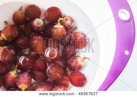 Limpieza de uva fresca de agua antes de consumir
