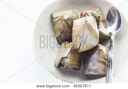 Thai Dessert Stuffed Dough Pyramid And Spoon