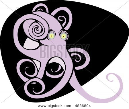 Purple octopus waves its eight arms deep in the sea. poster