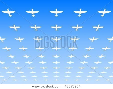 A Massed Formation Of Spitfire Supermarine Wwii Fighters Flying Overhead. 3D Illustration