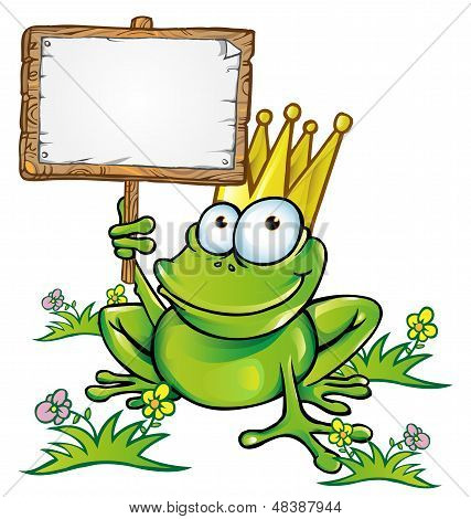 happy frog prince  with signboard vector project poster