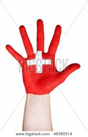 Hand Symbolizing Switzerland