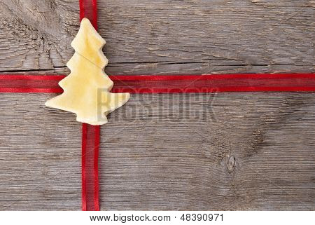 Red Ribbon With Christmas Tree Cookie