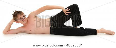 Flirty confident geeky teen boy over white with clipping path.