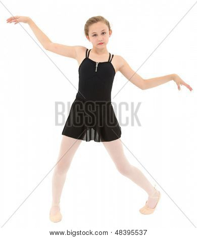 Spastic little dancer girl dancing poorly over white with clipping path.