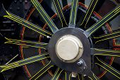 Close up of a steam locomotives wheel poster