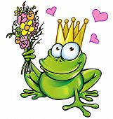 funny prince frog with bouquet and heart vector project poster
