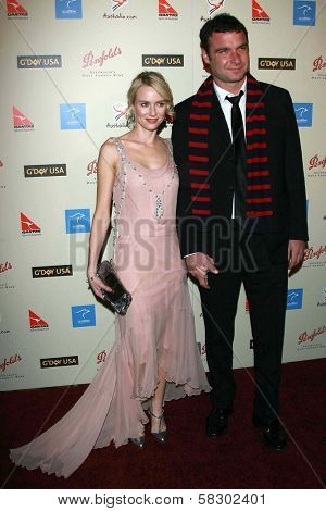 Naomi Watts and Liev Schreiber at the G'Day USA Penfolds Black Tie Icon Gala. Hyatt Regency Century Plaza, Los Angeles, CA. 01-13-07