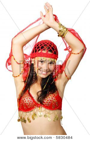 Oriental Dancer In Red Dress