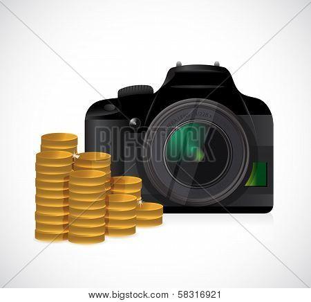 Coins And Camera Illustration Design