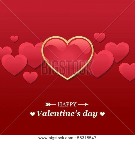 Valentine's day card with red hearts