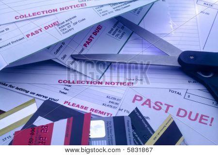 Bills, Cut Up Credit Cards, And Scissors