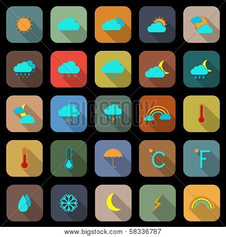 Weather Flat Color Icons With Long Shadow