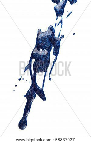 Blots of blue nail polish isolated on white background poster