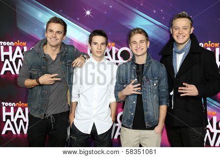 Aaron Scott, Kieran Ackerman, Adam Ackerman, Sonny Fredie Pederson at the 2012 TeenNick HALO Awards, Hollywood Palladium, Hollywood, CA 11-17-12