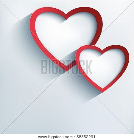 Valentine Background With Two Stylish 3D Hearts
