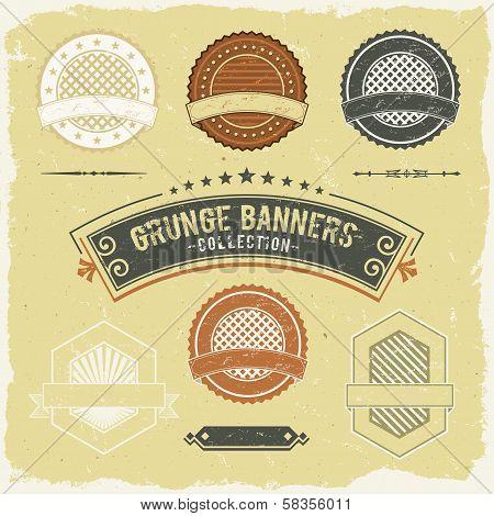 Vintage Grunge Banner And Labels Collection