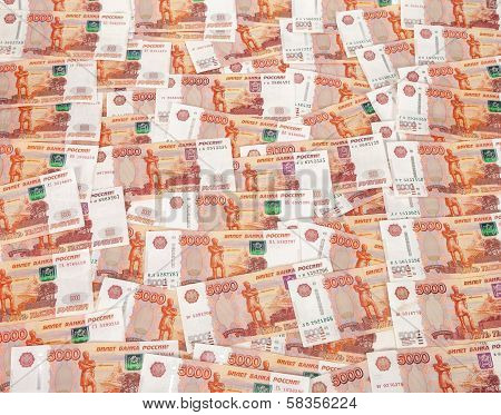 Heap Of Five Thousand Russian Rubles Banknotes As Background