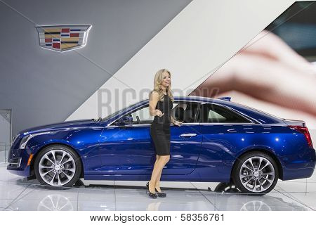 Detroit - January 26 :spokesmodel In Front Of The New 2015 Cadillac Cts At The North American Intern