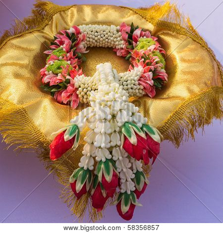 Garland or lei of flowers for  worship poster