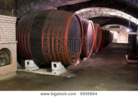 Barrels In A Wine-cellar.
