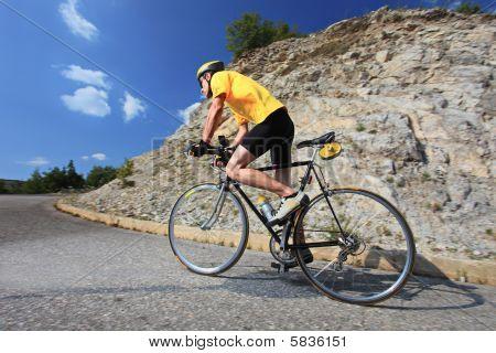 Bicyclist riding a bike