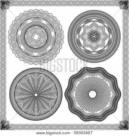 Set Of Vintage Backgrounds, Guilloche Ornamental Element For Certificate, Money, Diploma, Voucher, D