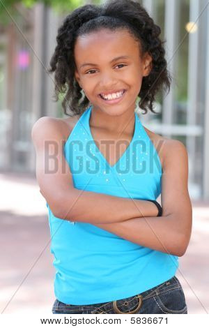 Smiling African American Teenager Girl