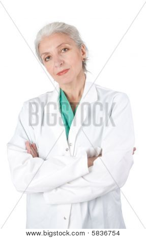 Closeup Portrait Of A Female Doctor Looking At Camera