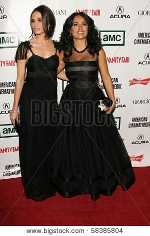 Mia Maestro and Salma Hayek at the 21st Annual American Cinematheque Award Honoring George Clooney. Beverly Hilton Hotel, Beverly Hills, CA. 10-13-06