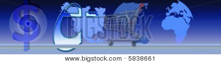This blue banner is about e-commerce. The shopping car dollar and so on are methaphors. poster