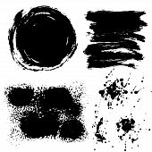 Strokes of black paint dirt . Grunge. poster