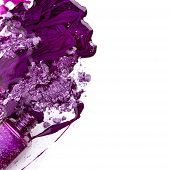 Purple Nail Polish And Crushed Eye Shadow Over White Background poster