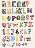 Illustration of a set of hand drawn sketched and doodled kids ABC letters and font characters in childish style also containing dollar and euro currency symbols poster