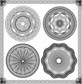 Set of Vintage backgrounds Guilloche ornamental Element for Certificate Money Diploma Voucher decorative round frames. poster