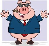Happy Businessman Pig With Sunglasses,Cigar And Open Arms poster