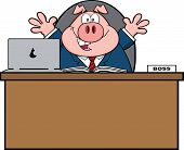Businessman Pig Cartoon Mascot Character Behind Desk poster
