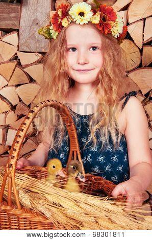 Cute little girl has easter