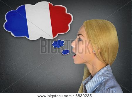 Woman speaking french in bubble