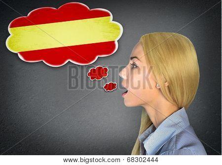 Woman speaking spanish in bubble