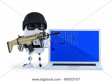 Armed Robot With Laptop. Techology Security Concept. Isolated On White Background. Contains Clipping
