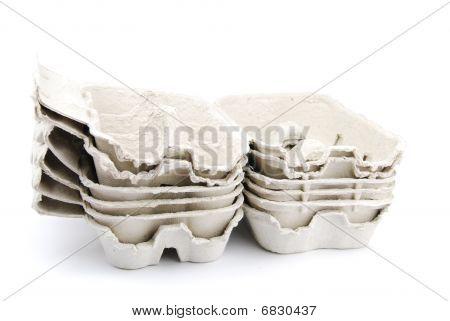 Empty Egg Boxes On White