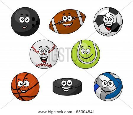 Set of cartoon sports equipment