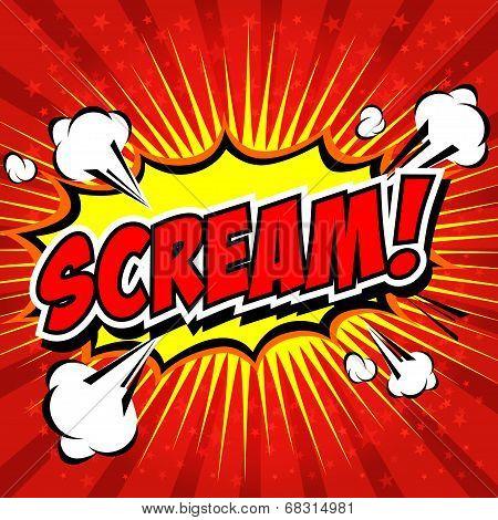 Scream! Comic Speech Bubble, Cartoon. art and illustration vector file. poster