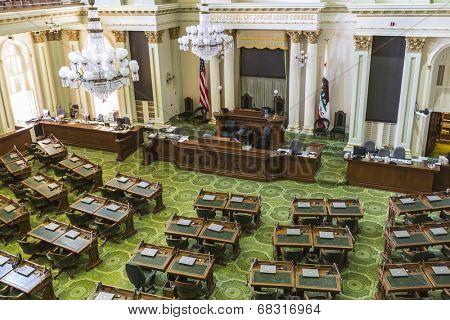 SACRAMENTO, CALIFORNIA - July 4, 2014:  The California state capitol legislature meeting room in Sacramento, California.