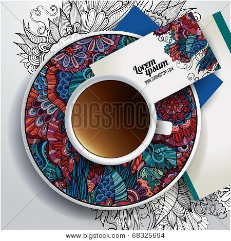 Vector Cup of coffee, business cards