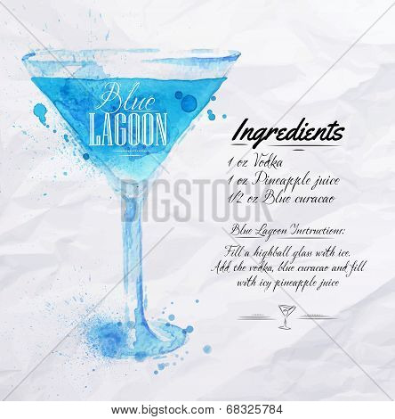 Blue Lagoon cocktails watercolor